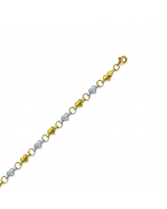 Two-tone Stampato Heart Anklet