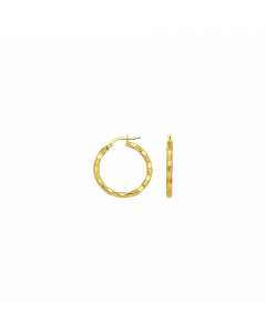 20mm Euro Hoop Earrings 14k Yellow Gold Post with Omega Clip Brick Design