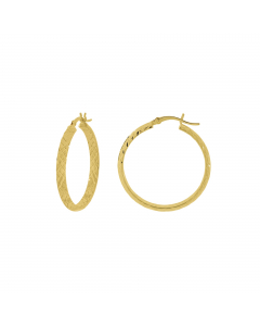 3x20mm Half Round In Out Diamond-Cut Hoop Earrings 14k Yellow Gold
