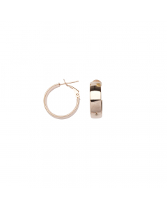 18x5mm Hoop Earrings Polished with Omega and Post 14k Rose Gold