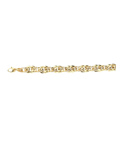 Two-tone Hollow Oval Twisted Link Bracelet 14k Yellow, White Gold