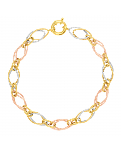 Tri-color Double Open Oval-link Bracelet 14k Yellow, Rose, White Gold