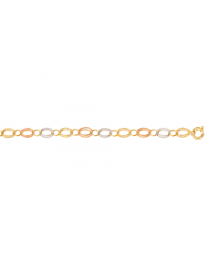 Tri-Color Small and Large Open Oval link Bracelet 14k Yellow, Rose, White Gold