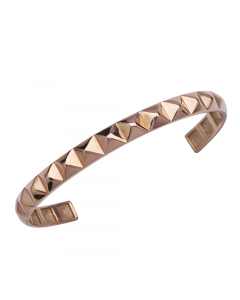 Pyramid Design Cuff Bracelet in Rose Gold-Plated Sterling Silver