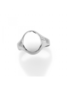 Women's Statement Oval Ring 14k White Gold | The Jewel In Giving